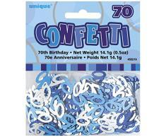 Unique Party 55219 - Confettis Glitz Bleus de 70ème Anniversaire