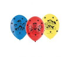 amscan 6 Ballons de baudruche Pat Patrouille, 9903825, Rouge, Bleu, Jaune, Taille Unique