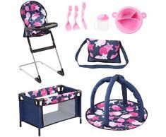 Bayer Design 61769AB Ensemble 9 en 1 pour des poupées avec une chaise haute, un sac, une assiette avec couverts et gobelet, un tapis déveil, un lit de voyage, accessoires poupon, bleu rose étoiles
