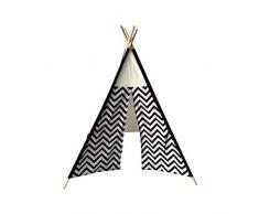 Rebecca Mobili Tente Indienne Jouet Enfants Blanc Noir Bois Coton Bebe Fille Garcon Chambre des Enfants - 145x120x120 (H x L x P) - Art. RE6311