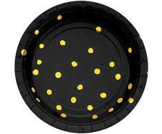 Creative Converting Tampon en Papier pour Assiettes à Dessert Noir/doré