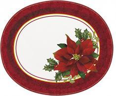 Unique Party - Lot de 8 Assiettes Ovales avec Motif Houx et Étoile de Noël pour Fête de Noël