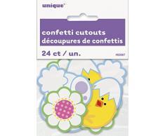 Confettis papier découpé et poussin de Pâques, décorations, Lot de 24