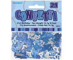 Unique Party 55213 - Confettis Glitz Bleus de 21ème Anniversaire