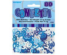 Unique Party 55085 - Confettis Glitz Bleus de 80ème Anniversaire