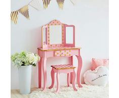Teamson Kids Fashion Polka Dot Prints coiffeuse enfant, MDF et Bois Massif (respectueux de lenvironnement), Pink & Gold
