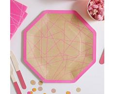 Ginger Ray NB-264 Neon Birthday Assiettes en papier Kraft et rose