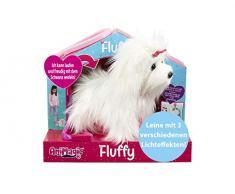 Animagic - Mon petit chiot Fluffy 3.0 - Marche, remue la queue et aboie - laisse lumineuse - Peluche chien interactive
