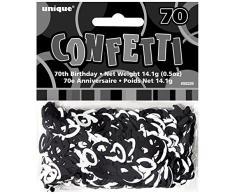 Unique Party 55229 - Confettis Glitz Noirs de 70ème Anniversaire