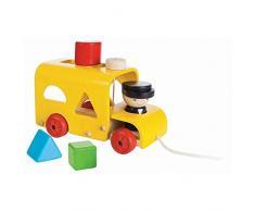 PlanToys - PT5121 - Jouet en bois - Jeu déveil - Autobus à Formes