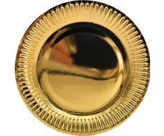 Folat Assiettes Jetables Couleur Métallique Or, 50680