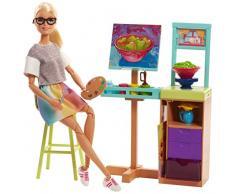 Barbie Métiers Studio Artistique de poupée avec pupitre, tableau, étagère, accessoires de peinture et chaise haute, jouet pour enfant, FJB26