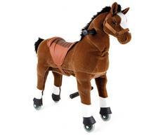Small Foot 9409 Reitpferd Fohlen, mit Rollen Lenkung zur Fortbewegung für drinnen und draußen, ab 5 Jahre cheval de selle, marron
