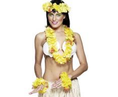 Smiffys Panoplie hawaïenne jaune, avec guirlande, bandeau et bracelet