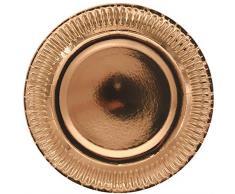 Folat - Assiettes Jetables Couleur Métallique Or Rose - 23cm - 8 Pièces