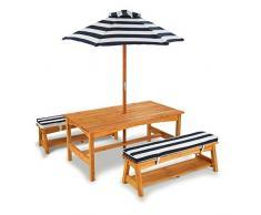 KidKraft 106 Ensemble table et banc d'extérieur en bois avec coussins et parasol - Meubles de jardin pour enfants - Rayures bleu marine & blanches