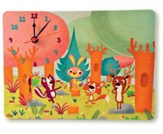 Dida - Horloge en Bois Enfant – Animaux de la forêt – Horloge Murale et de Table pour la Chambre des Enfants