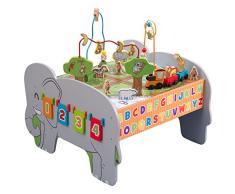 KidKraft 17508 Table dactivité enfant en bois Deluxe, jeu déveil incluant boulier, animaux, train…