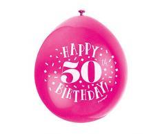 Unique Party 56051 - Ballons de Baudruche - 23 cm - Happy 50th Birthday - Assortiment de 10