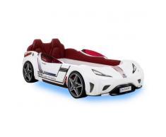 Nilmex Lit voiture pour enfant 90 x 195 cm avec led coloris blanc