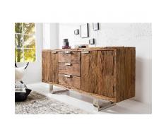 Nilmex Enfilade moderne en bois massif et acier inoxydable
