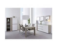 Nilmex Salle à manger complète coloris blanc et chêne grisé