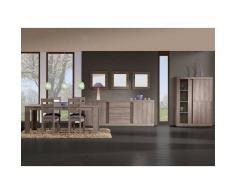 Nilmex Vitrine avec salle à manger complète et bahut coloris chêne grisé