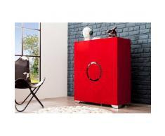 Nilmex Meuble bar moderne en mdf coloris rouge brillant