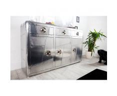 Nilmex Enfilade design en aluminium et bois de couleur argentée