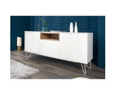 Nilmex Enfilade moderne à 2 portes et 2 tiroirs en bois mdf coloris blanc laqué