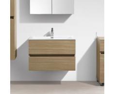 Meuble salle de bain design simple vasque SIENA largeur 80 cm Chêne Clair