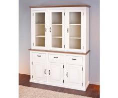 CASSALA vaisselier 6 portes 3 tiroirs en bois massif coloris blanc et bru