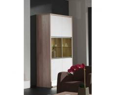 Depotmeubles Vitrine 6 portes coloris chêne clair et blanc laqué