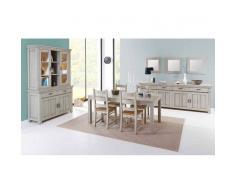 JEROEN Argentier 4 p. avec salle à manger complète coloris chêne blanchi