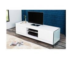 Depotmeubles Meuble tv design en bois mdf coloris blanc laqué