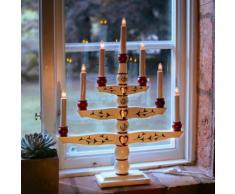 TRADITION - Chandelier Bois blanc motifs vintage 7 bougies à ampoules H54cm - Lampe à poser Xmas Living Glass designé par