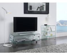 items-france GLASSE - Meuble tv en verre avec roulettes