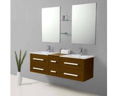 items-france RIVIERA2 MARRON - Meuble salle de bain contemporain 150x48 marron