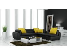 items-france VERONE - Canape d'angle en cuir noir 4 places 260x225