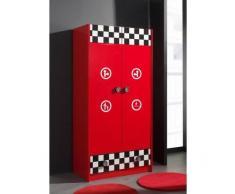 Leylina Armoire enfant à 2 portes et 1 tiroir FUNNY coloris rouge haute brillance