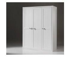 Leylina Armoire pour enfant 3 portes en blanc laqué en MDF.