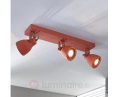 Projecteur de plafond à LED à trois lampes rouge
