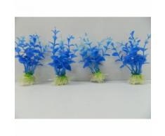 4 Plantes Artificielles Aquatiques Pour Aquarium 11cm Plante Bleu Herbe