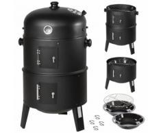 TECTAKE Barbecue 3 en 1, Grill, Fumoir, Smoker avec Thermomètre et Crochets pour Fumer - Charbon de Bois Noir