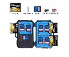 Memory Card Case Boîte 3 en 1 Câble USB de rangement pour cartes de résistant à l'eau Convient pour SD TF SIM Nano SDXC Cartes SDHC