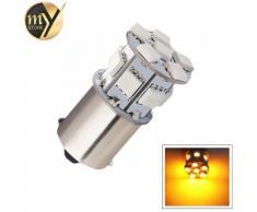Jaune 2 Pcs 1156 Bau15s 13 Smd 5050 Ambre Jaune Led Voiture Source De Lumière Lampe Py21w Led Ampoules De Voiture Clignotant Stationnement Extérieur 12 V A001