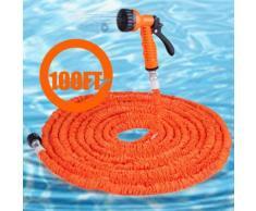 100FT Expandalble jardin eau tuyau avec 7 modes de fonctionnement du pistolet pour lavage arrosage orange