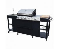 Barbecue au gaz D'Artagnan cuisine extérieure 5 brûleurs évier planche thermomètre ustensiles