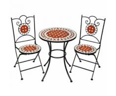 Tectake mobilier de jardin mosaïque table et chaises meuble bistrot bar terrasse balcon