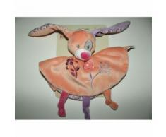Doudou Plat Rond Lapin Doukidou Saumon Orange Abricot Fleur Cocard Dou Kidou Lapinou Jouet Bebe Naissance Peluche Éveil Enfant Blanket Comforter Soft Toy